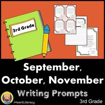 Writing Prompts 3rd Grade Common Core Bundle - September,