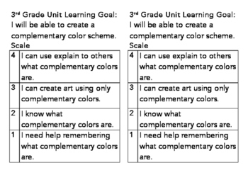 3rd Grade Complementary Color Learning Goal and Scale