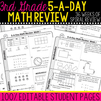 3rd Grade Daily Math Spiral Review  Morning Work