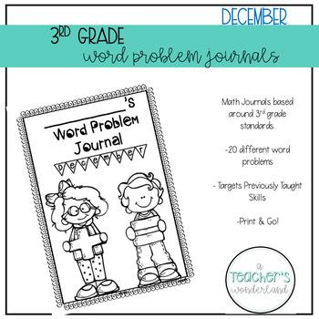3rd Grade December Math Word Problem Journal