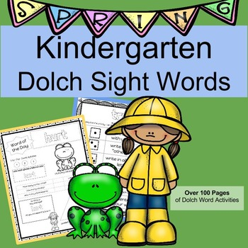 Kindergarten Dolch Sight Words Activities SPRING SET