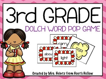 """3rd Grade Dolch Word """"Pop!"""" Game"""