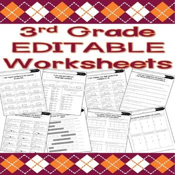 3rd Grade EDITABLE Math Worksheets (Base Ten, Operations,