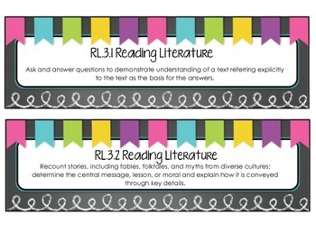 3rd Grade ELA Standards Display Cards