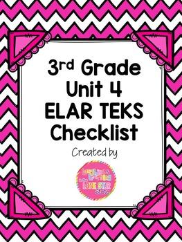 3rd Grade ELAR Unit 4 TEKS Checklist