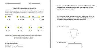 3rd Grade End of Year Cumulative Test/Great for PARCC Stan