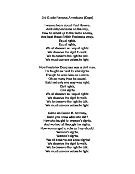 3rd Grade Famous Americans Song