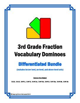 3rd Grade Fractions Vocabulary Dominoes (complete differen