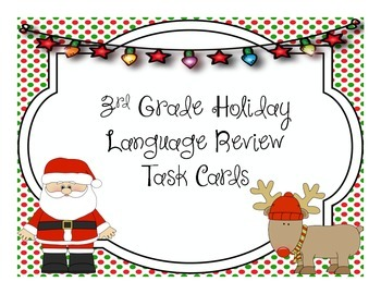 3rd Grade Holiday Language Review Task Cards