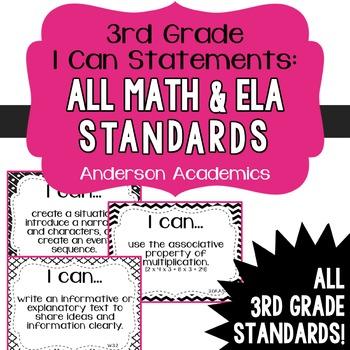 "3rd Grade ""I Can"" Statements Bundle: All Standards - Black"