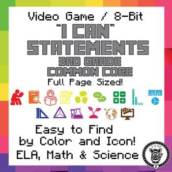 3rd Grade I Can Statements Common Core CCSS ELA, Math & Sc