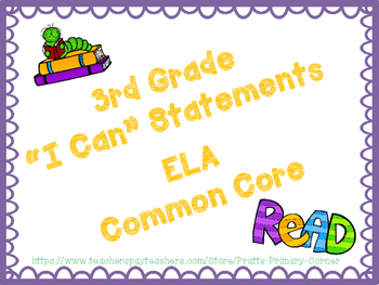 3rd Grade I Can Statements Common Core ELA- Book Worm Theme