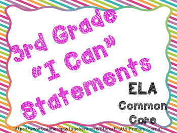3rd Grade I Can Statements Common Core ELA- Bright Colors