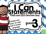 3rd Grade I Can Statements Common Core ELA & Math BUNDLE