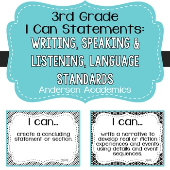 "3rd Grade ""I Can"" Statements: Writing, Speaking & Listenin"