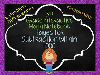 3rd Grade Interactive Math Notebook Pages Subtraction with