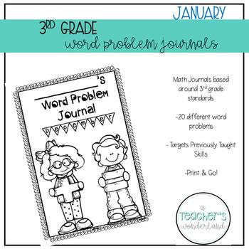 3rd Grade January Math Word Problem Journal