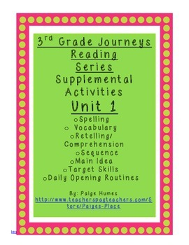 3rd Grade Journeys Reading Series Supplemental Activity Pa
