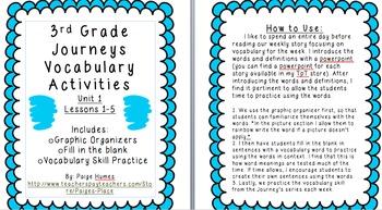 3rd Grade Journeys Reading Series Vocabulary Activities BU