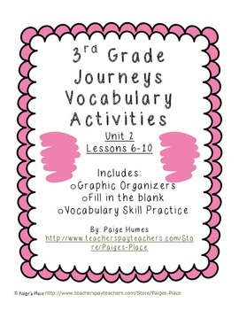 3rd Grade Journeys Reading Series Vocabulary Activities Unit 2