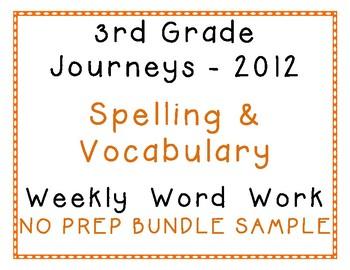 3rd Grade Journeys 2012 Spelling Vocabulary Center Activit