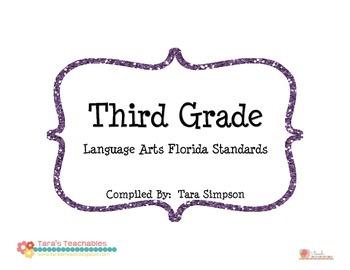 3rd Grade LAFS Language Arts Florida Standards Checklist w