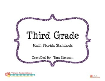 "3rd Grade MAFS Math Florida Standards Checklist with ""I Ca"