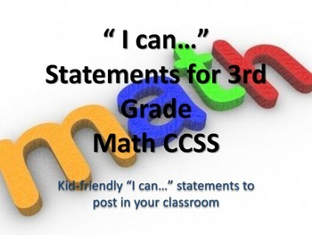 """3rd Grade MATH CCSS """"I Can"""" Statements {Editable PowerPoin"""