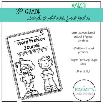 3rd Grade March Math Word Problem Journal