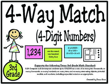 3rd Grade Math: 4-Way (4-Digit) Place Value Match TEKS 3.2A