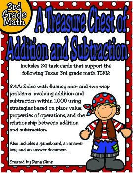3rd Grade Math:  A Treasure Chest of Addition and Subtract