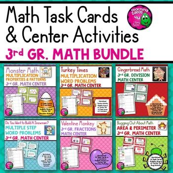 3rd Grade Math BUNDLE: 6 Sets of Worksheets, Task Cards, &
