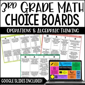 3rd Grade Math Choice Boards {Operations and Algebraic Thinking}