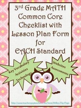 3rd Grade Math Common Core Checklist - Lesson Planning For