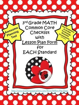 3rd Grade Math Common Core Checklists - Lesson Planning Fo