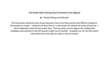 3rd Grade Math Common Core Pacing Guide