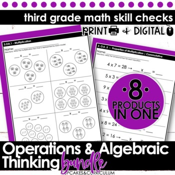3rd Grade Math - Common Core Print & Go - Operations and A