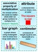 3rd Grade Math Common Core Vocabulary Flash Cards - Terms,