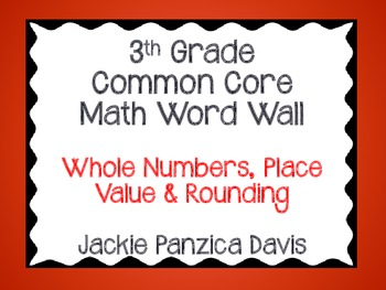 3rd Grade Math Common Core Word Wall (Whole Numbers, Place