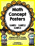 3rd Grade Math Concept Posters Number Operation 3.NBT.1 3.