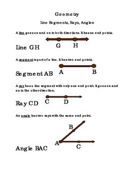 3rd Grade Math Geometry Lines Segments Rays Angles Critica