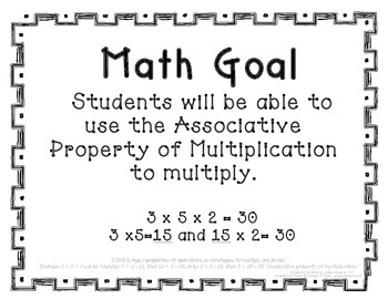 3rd Grade Math Objective Poster: Associative Property (ali