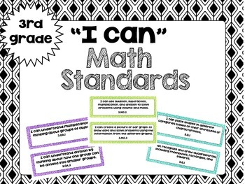 "3rd Grade Math "" I Can..."" Statements"