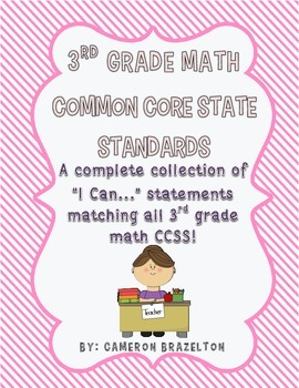 "3rd Grade Math ""I Can..."" Statements (CCSS Aligned)"