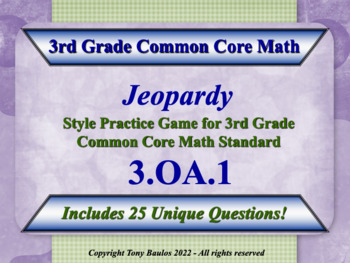 3rd Grade Math Jeopardy Game - Products Of Whole Numbers W