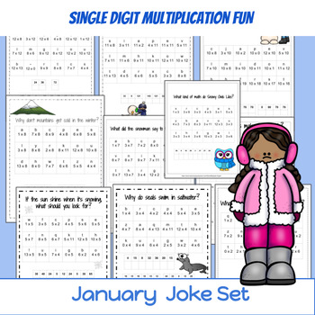 3rd Grade Math: Multiplication: Winter Jokes solved with M