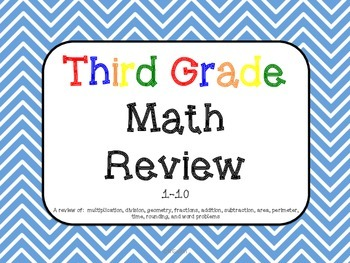 3rd Grade Math Review 1-10 Common Core aligned