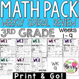 3rd Grade Math Center or Morning Work - Weekly Spiral Revi