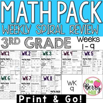 3rd Grade Math Center or Morning Work - Weekly Spiral Revi