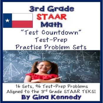 3rd Grade Math STAAR Test-Prep Problems, 16 Sets, 96 Problems